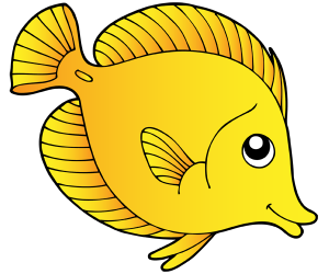 Surgeon fish, a fish that lives in tropical seas Game