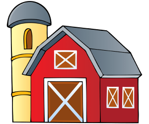 The building of the farm with stable and barn Game