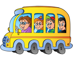 The bus driver with the children in the school bus Game