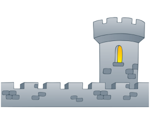 The defensive wall and a tower of the castle Game