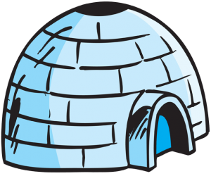 The igloo, typical snow house of inuits, eskimos Game