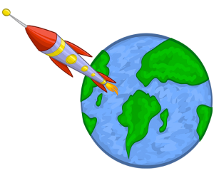 The launch of the rocket from the Earth Game