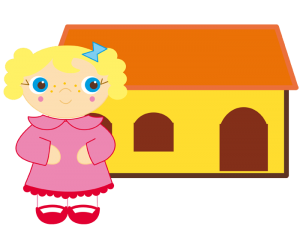 The little girl in front of the little house Game