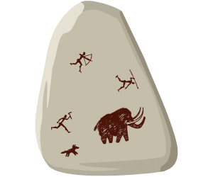 The mammoth hunting, a cave painting Game