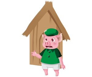 The pig in front of his house made of wood Game