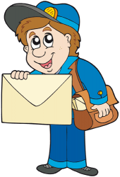 The postman ready to deliver a large envelope Game