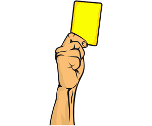 The referee shows a yellow card Game