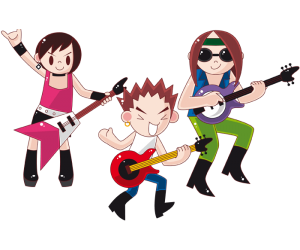 The three guitarists of the rock band Game