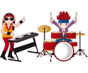 Two members of the rock band in the concert Game