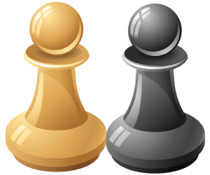 Two pawns, black pawn and white pawn Game
