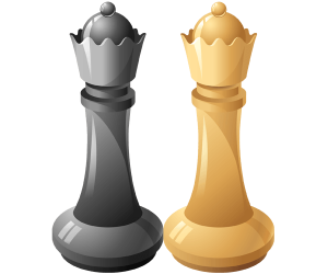 Two queens, black Queen and white Queen Game