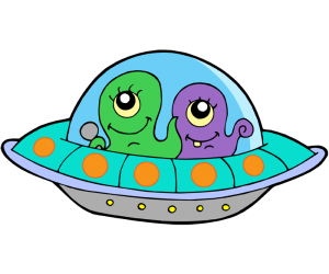UFO, extraterrestrial vehicle with two aliens Game