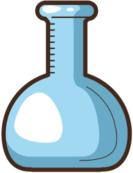 Volumetric flask, a measuring glass container Game